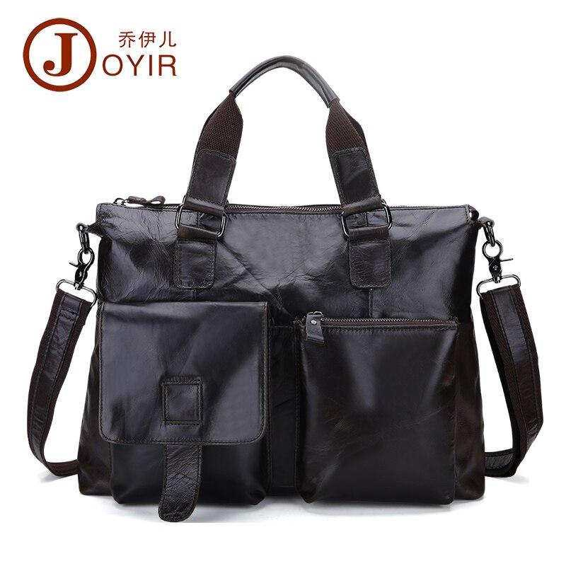 JOYIR حقيبة أعمال الرجال جلد طبيعي رسول حقيبة يد الرجال اليد 15 بوصة محمول حقيبة كتف Crossbody للذكور B260-في حقائب جلدية من حقائب وأمتعة على  مجموعة 1
