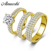 AINUOSHI נדל 10 k זהב צהוב חתונת זוג טבעת סטי גברים נקבה נשים כלה בנד זהב תכשיטים טריו טבעת מאהב אירוסין
