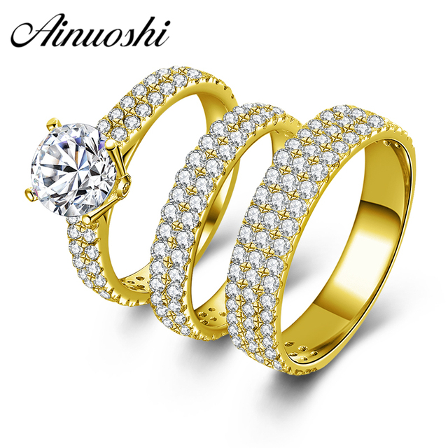 Ainuoshi Real 10k Yellow Gold Wedding Ring Sets Men Women Female Bridal Band Fine Jewelry
