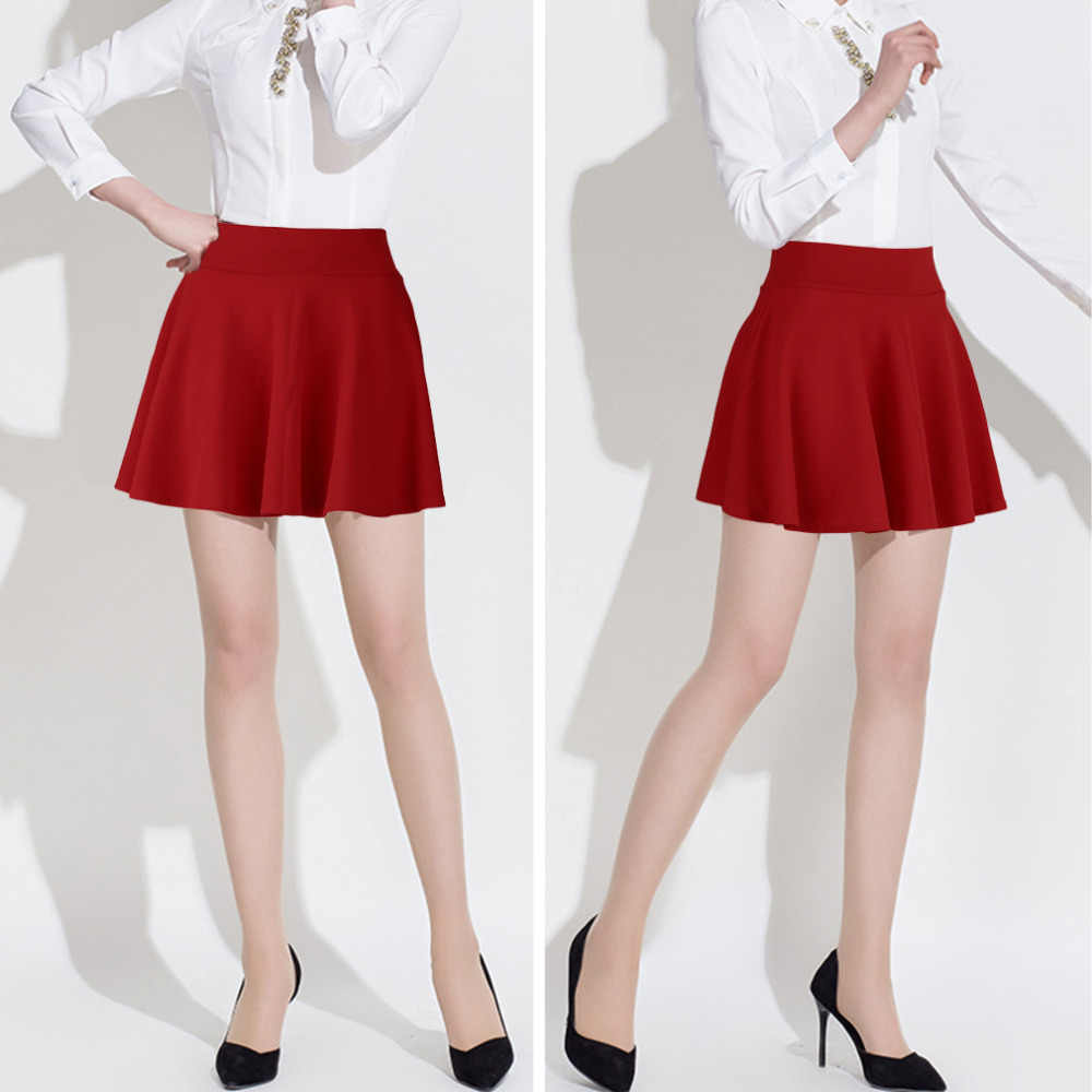 Mini Falda plisada de cintura alta única para mujer, falda de cintura alta informal de algodón acampanada plisada, moda azul 2019