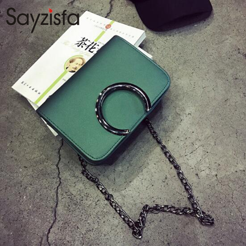 Sayzisfa 2018 New Trendy shoulder bag Korean version simple chain small square bag shoulder Messenger bag mini bag T649 2018 new female korean version of the bag with a small square package side buckle shoulder messenger bag packet tide