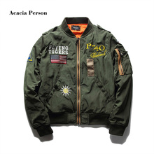 Hot Sale Mens Spring MA1 Pilot Bomber Jacket Thin Military Army Flying Tigers Cool Baseball Flight Jacket Plus Size M-4XL