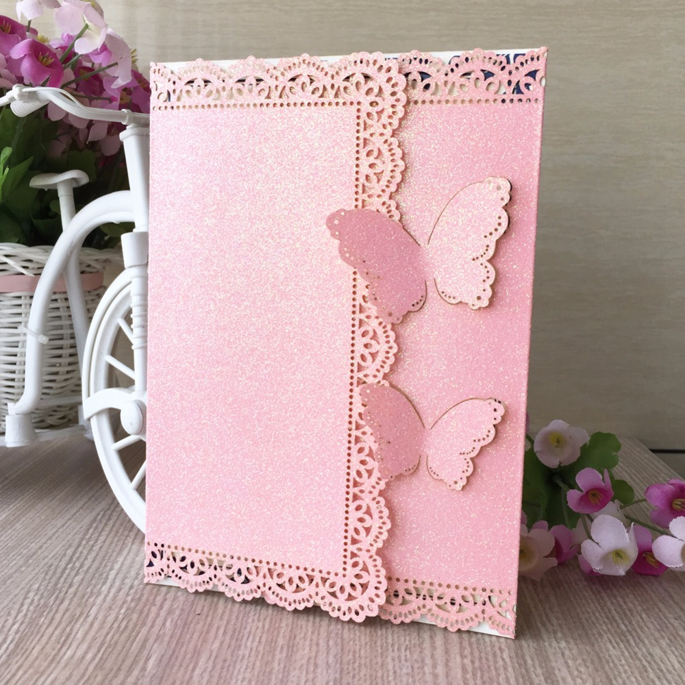 30pcs Bright Pink butterfly wedding invitation laser Luxury Wedding  Invitations Card Elegant Lace Favor Wedding party supplies|pink cards|supplies  partysupplies wedding - AliExpress