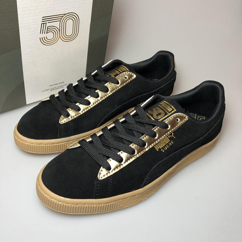 new product 7e94c 1e098 Original PUMA SUEDE 50 Classic Metallic Men's and Women's Sneaker Badminton  Shoes Size EUR35.5-44