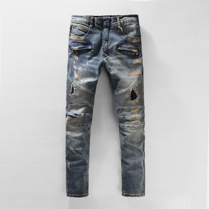 Luxury Brand Designer Mens Fashion Runway Distroyed Distressed Slim Stretch Biker Washed Jeans Men Ripped Jean Homme Hole Pants