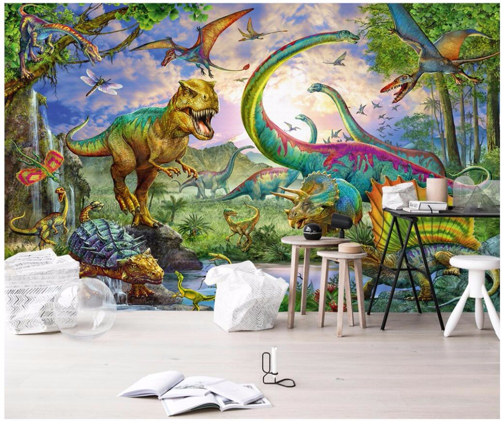 Custom mural photo 3d wallpaper Jurassic park dinosaur tyrannosaurus rex wing painting 3d wall murals wallpaper for wall 3 d wiben jurassic tyrannosaurus rex t rex dinosaur toys action