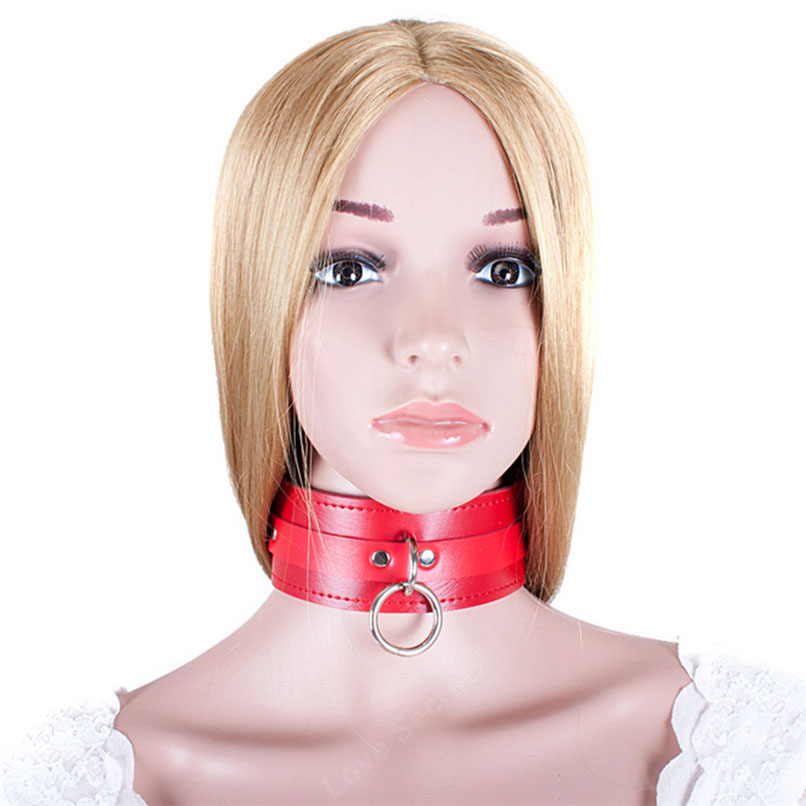Bondage Restraints Fetish Red PU Sexy <font><b>Collars</b></font> Adult Games Cosplay <font><b>Sex</b></font> Slave <font><b>Dog</b></font> Slave Neck Bondage Bdsm <font><b>Sex</b></font> Toys for Couples image