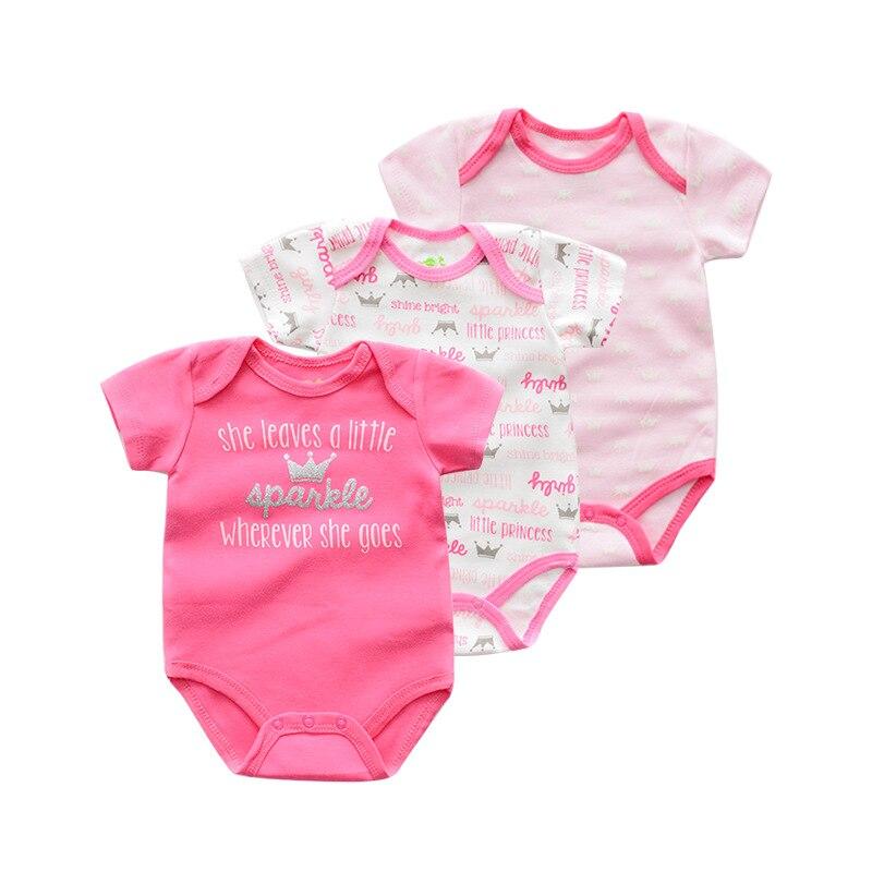 9c08c1572334 3 unids/lote nuevo nacido Ropa Infantil de dibujos animados brillo bebé  mameluco Niño de algodón de verano mono mamelucos para 0-12 M