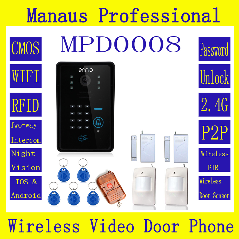 Hot Selling WIFI Wireless Video Door Phone System With Home Alarm System Card Unlock Function & Remote Wireless Control D8