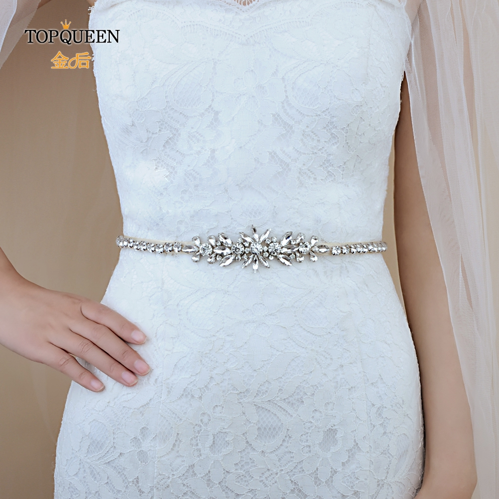 TOPQUEEN S166 Women's Rhinestone Belt Silver Diamond Bridal Belt For Wedding Gown Wedding Belt For Bridal Bridesmaid Dresses