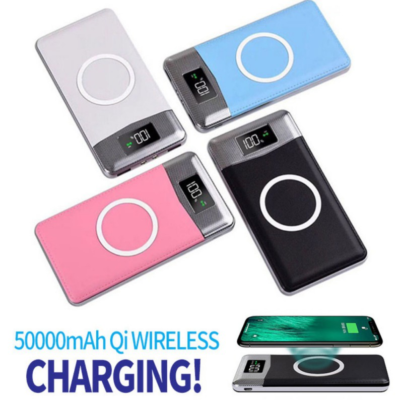 50000mah Phone Power Bank Qi Wireless <font><b>Charger</b></font> 2 <font><b>USB</b></font> LCD LED Portable External Battery For Xiaomi Samsung iphone XS image