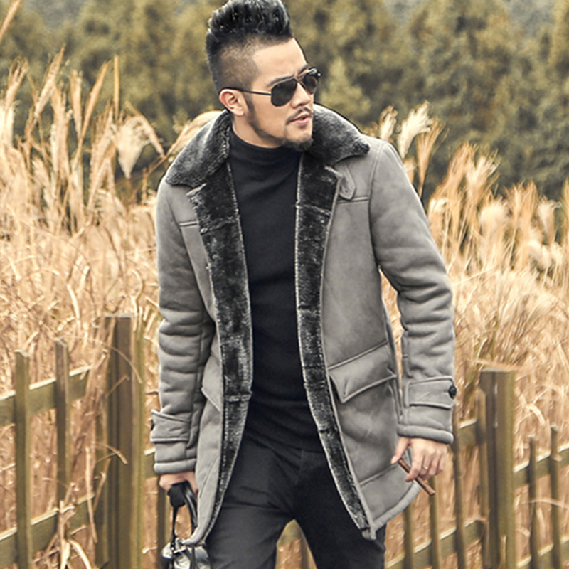 2018 Winter New Men Warm Woolen Faux Fur Leather Jacket Coat Men European Style Thicken Long Leather Jacket Slim Brand Clothing