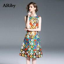 Women Dress 2019 Summer Fashion Lady Elegant Slim Fit Sleeveless Floral Printed O-Collar Knee-Length A-Line Vestidos