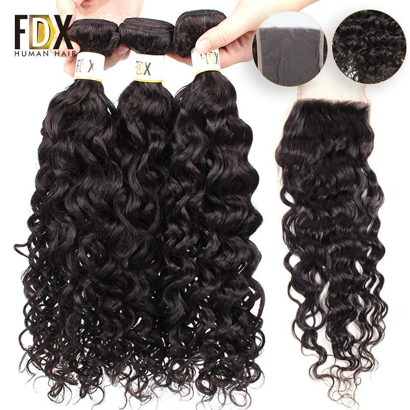 FDX Indian water wave bundles with closure 28inch Free Part Closure Human Hair Bundles weave Natural