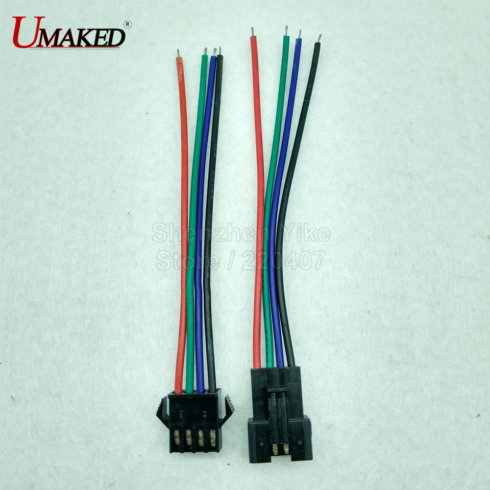 5pairs JST SM 4 Pins/head Male to Female Plug/Wire Quick Connector for RGB LED Strip, 4pin connector jst xh2 54 2 3 4 5 6 78 9 10 pin connector plug male female crimps x 50sets