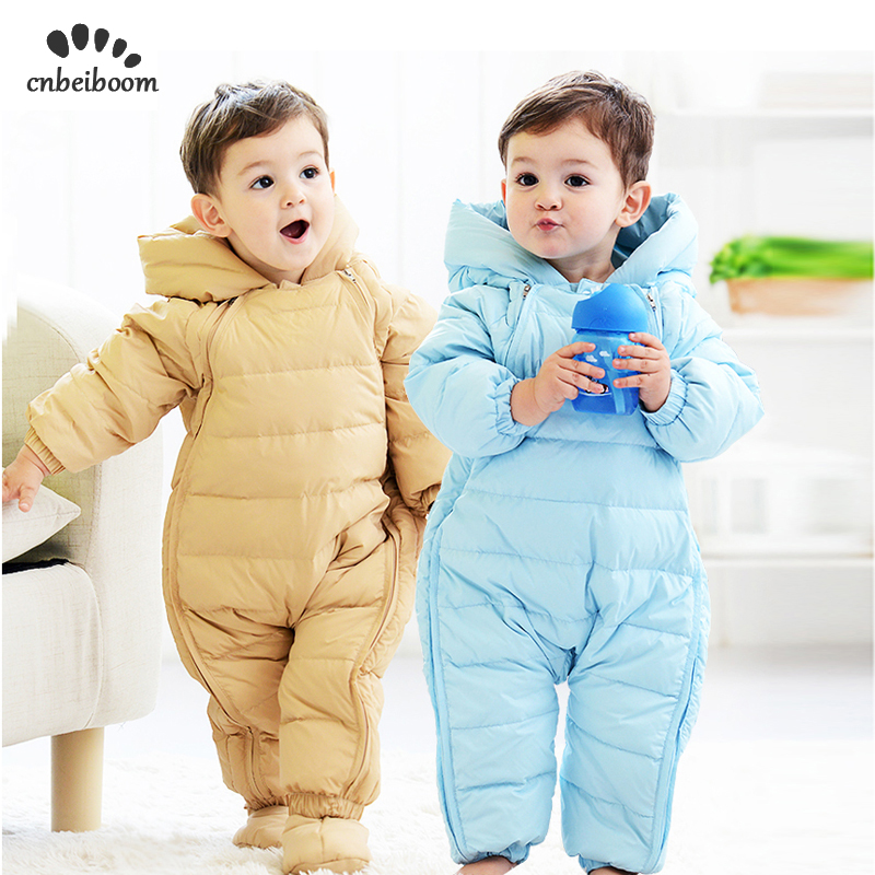 2019 Winter Baby Rompers Duck 90 Down Newborn Infant Snowsuit Boys Girls Warm Overalls Kids Jumpsuit Outerwear clothes Romper