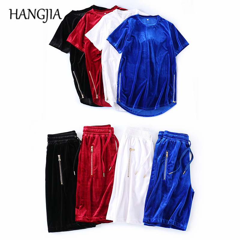 Mens Velvet Sets Side Zip Tshirts Velour Joggers Shorts Two Pieces Sets Spring Summer Streetwear Hip-hop Tracksuit Men Women