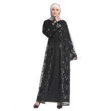 New Muslim Lady Dress Middle East Women Temperament Sequin Lace Cardigan Robe Fashion Turkish Lslamic Robes
