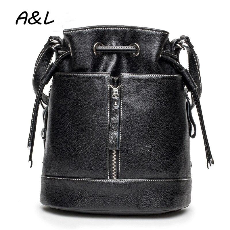 Vintage Women Backpack Luxury Designer Backpack Drawstring Bucket Shoulder Bag Lady Leather Travel Bag Sac a Main Rucksack A0191
