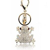 أزياء الرجال النساء طلاء الذهب والفضة سلسلة المفاتيح الجوف الضفدع الضفدع المفاتيح قلادة الكريستال والمجوهرات هدية