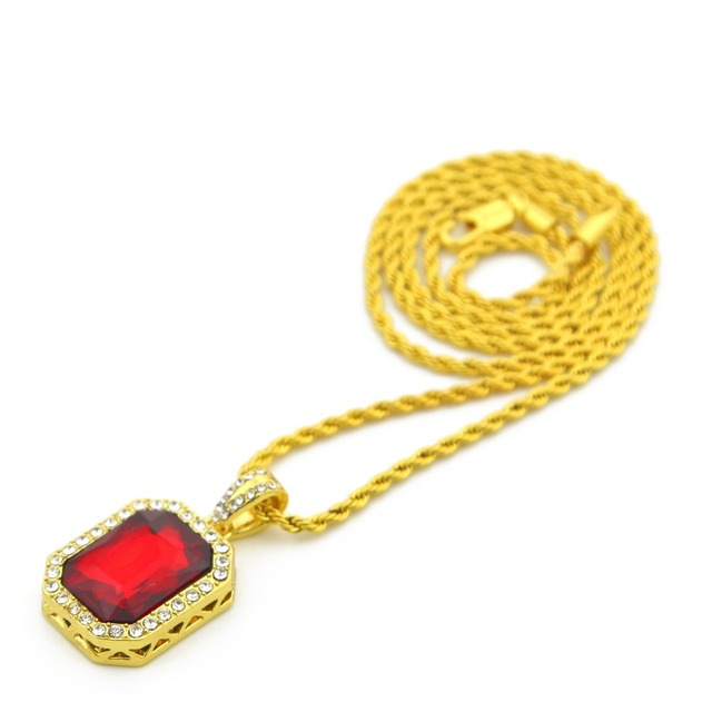 Vintage Golden Bling Iced Out Mini  Stone  Pendants Necklaces Men Women Charm Crystal Hip Hop Jewelry Gifts Chain