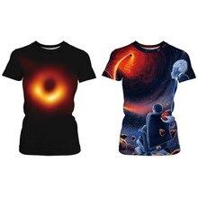 2019 New Black Hole T-shirt Summer Men's or Women's Short-sleeved T-shirt Casual Cool 3d Black Hole Short-sleeved Couple T-shirt цена