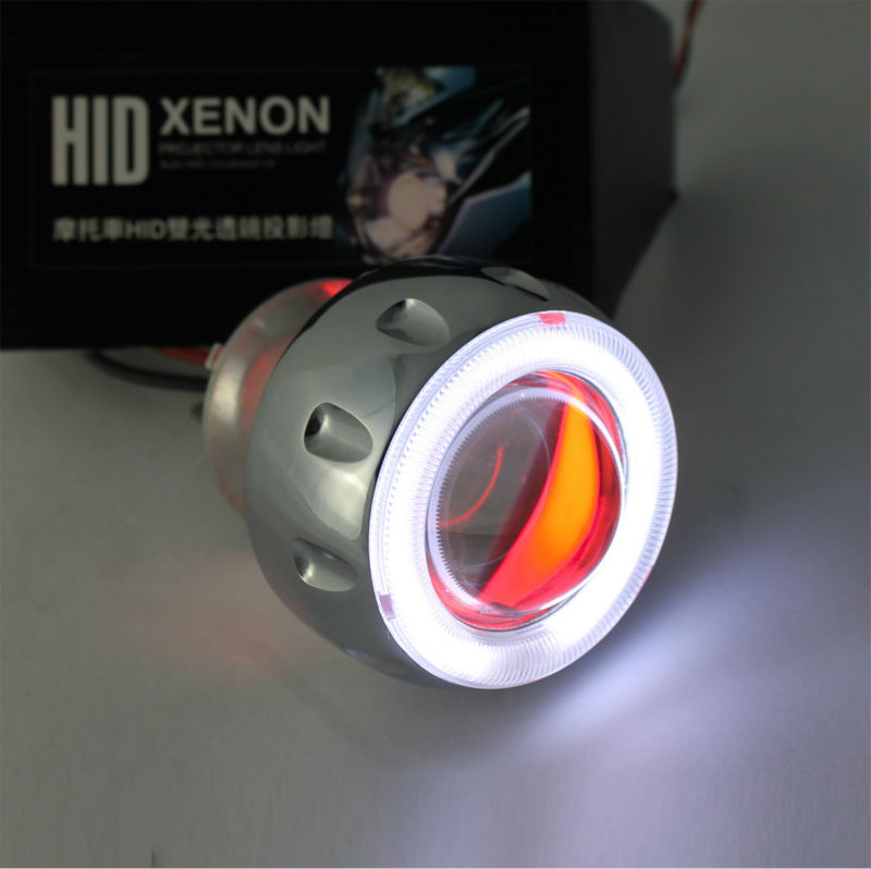 35w Slim ballast FREE SHIPPING 2 inch Hid Bi xenon Projector Lens Kits with Angel Devil Eyes for Motorbike headlights source