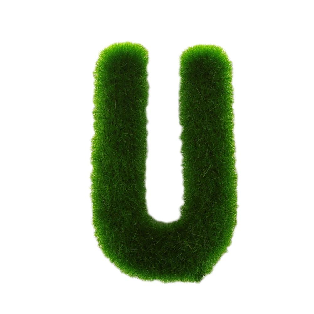 Буквенные предметы интерьера искусственный газон письмо искусственный газон украшение 26 слов ремесленный дом окно креативный - Цвет: U