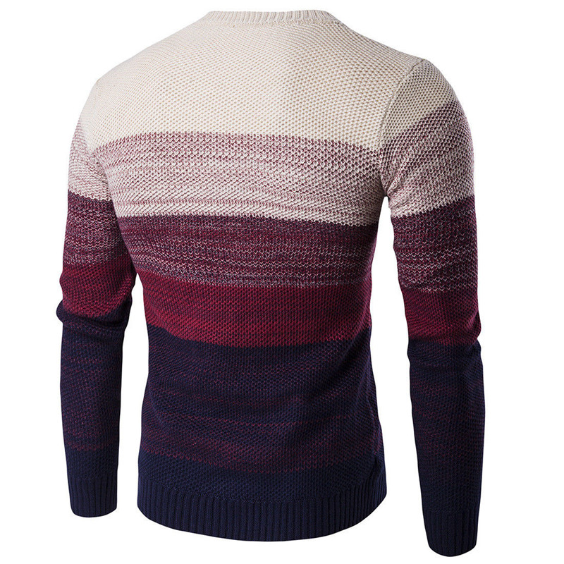 Stylish Men Casual Round Neck Knitted Sweater Pullover Knitwear Jumper Coat Tops