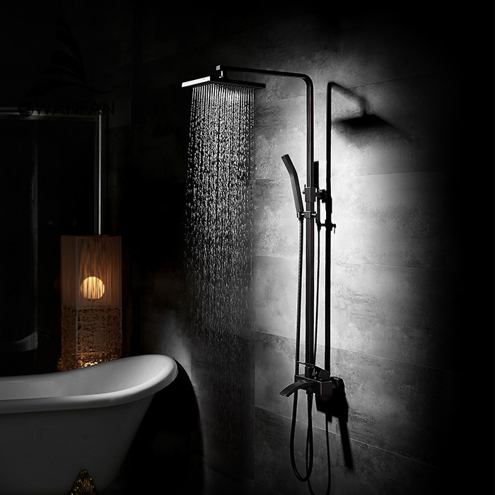 Shower Faucets Brass Black Bathtub Faucet Square Tube Single Handle Top Rain Shower With Slide Bar Wall Water Mixer Tap 9235R wall mount single handle bath shower faucet with handshower antique brass bathroom shower mixer tap