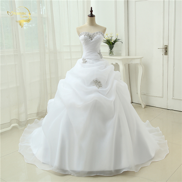 A Line Bridal Gown Beading White Ivory Wedding Dress Robe De Mariage Casamento OW3199