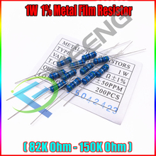 Новый 50 шт. 1 Вт металла Плёнки резистора +-1% 1 Вт 82 К 91 К 100 К 120 К 150 К Ом