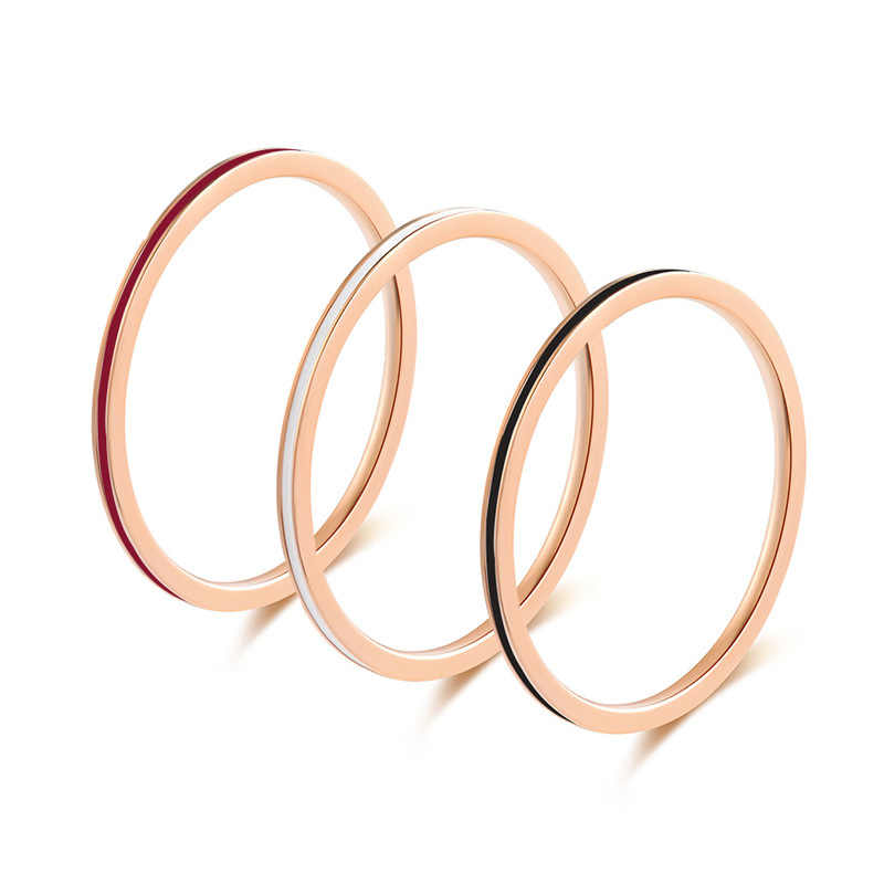 KNOCK high quality Men Epoxy Titanium Stainless  Black white  red  Ring Lover Couple  Smooth Fashion Jewelry Gift