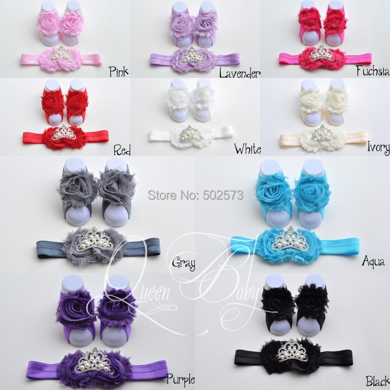 20set lot Baby Barefoot Sandals with Shabby Flower Matching Tiara Headband Baby Girl Headband