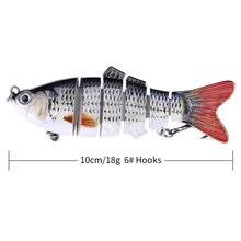 12 цветов Реалистичная 6-сегментная жесткая Рыболовная Приманка 10 см 3D глаза поддельные кренкбейты для рыбалки искусственные приманки, острые 6 # крюк-воблер