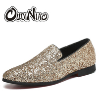 Glitter Branded Shoes Men Luxury Loafers Men Shoes British Style Silver Gold Mens Shoes Casual Zapatillas