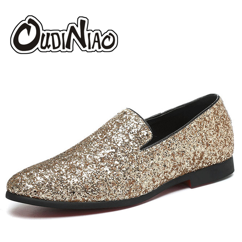 OUDINIAO Glitter Branded Shoes Men Designer Luxury Loafers Men Shoes British Style Silver Gold Mens Shoes Casual Large Sizes