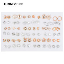 36pair/set Mix Style Gold Silver Color Flower Stud Earring Set Crystal Star Heart Earrings For Women Girl Fashion Jewelry Gift(China)
