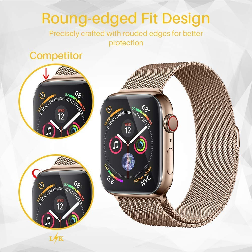 Full Coverage Protective Film For Apple Watch Series 4 44mm 40mm 9D Anti-Shock TPU (Not Glass) Screen Protector iwatch Cover 3pack tpu screen protector film for apple watch series 4 40mm 44mm soft tpu anti scratch protective film for iwatch 40mm 44mm
