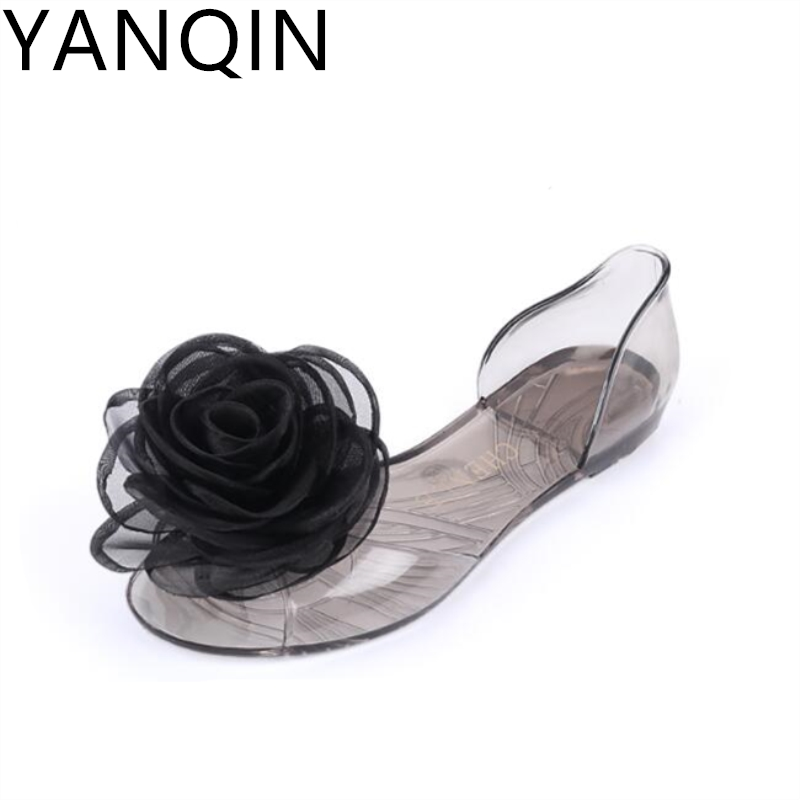 YANQIN New Women Sweet Flowers Lady Jelly Shoes Women Sandals Flat Summer Shoes Female Casual Flats Shoes Sandalias Mujer women jelly shoes candy sandals luxury brand summer beach flats bowknot shoes casual lady fashional envirionmental shoes female