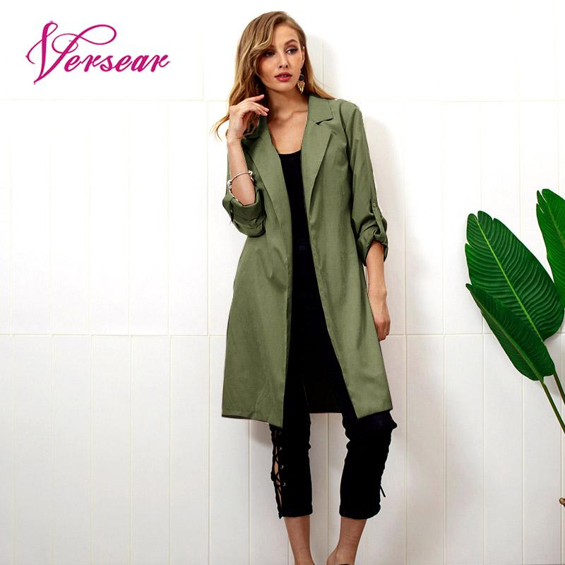 Versear Winter Autumn   Trench   Coat for Women Elegant Long Sleeves Waist Belt Slim Warm Casual Female Long Outerwear Overcoat