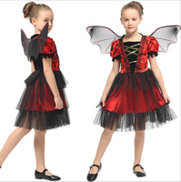 2019 Children`s Red Bat Cosplay Costume Halloween Purim Fancy Masquerade Party Fancy Dress Witch Wings Costume For Kids Girls