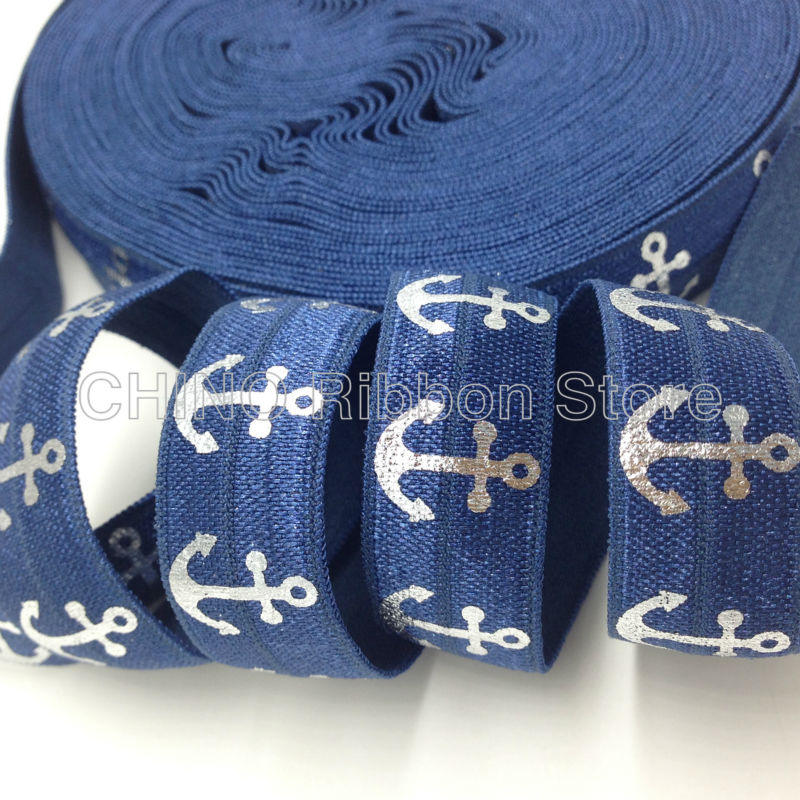 10 yards 5/8 High Quality Silver Foil Anchor Print Fold Over Elastic Blue FOE Elastic Ribbon for Hair Tie DIY Hair Accessories ...
