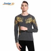 Covrlge 2018 Fashion T Shirts 3D Dragon Tattoo Printing Bronzing Lente Tees Casual Lange Mouwen Mannen T-shirt Tops MTL080