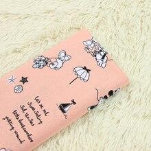 half meter pink bottom plain cotton poplin minnie print fabric,  handmade DIY garment dress baby's clothes sewing tissue B86 poplin insert plaid dress