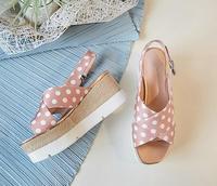 BONJEAN Fashion Polka Dot Platform Wedge Sandals for Woman Summer Peep Toe Buckle Strap Shoes Cutouts Gladiator Sandals