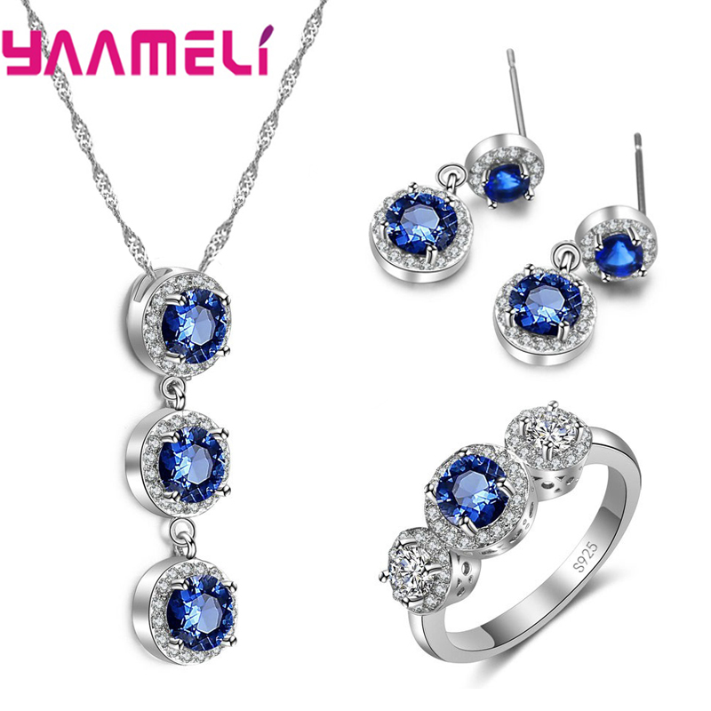 Attractive Jewelry Sets 925 Sterling Silver Clear WhiteBlue Round CZ Pendant Necklace Earrings