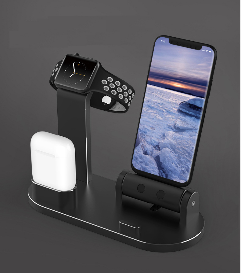 EKIND 3 en 1 support de Dock de chargement pour Iphone X Iphone 8 Iphone 7 Iphone 6 Station de chargement pour Apple watch Airpods