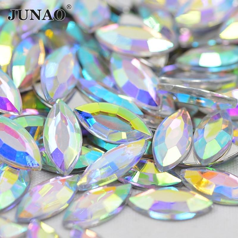 JUNAO 7 * 15mm Flatback Crystal AB Rhinestones Lim på Strass krystaller Non Sewing Stones Heste Eye Shape Akryl Gems DIY Crafts