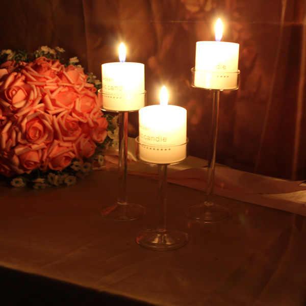 משלוח חינם 2019 יפה קלאסי זכוכית פמוט חתונה בר מסיבת בית תפאורה קישוט אופנה פמוטים